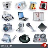 De pictogrammen van de pers Stock Foto's