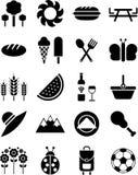 De pictogrammen van de picknick Stock Fotografie