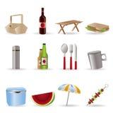 De pictogrammen van de picknick en van de vakantie Stock Foto's