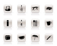 De pictogrammen van de picknick en van de vakantie Stock Afbeeldingen