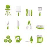 De pictogrammen van de picknick, van de barbecue en van de grill Stock Afbeeldingen