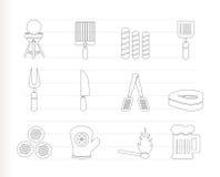 De pictogrammen van de picknick, van de barbecue en van de grill Stock Foto's