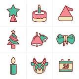 De Pictogrammen van de pictogrammenstijl geplaatst Kerstmis Stock Fotografie