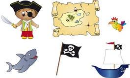 De pictogrammen van de piraat Stock Afbeelding