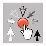 De pictogrammen van de pixelcurseur: van de muishand en pijl wijzers Royalty-vrije Stock Foto's