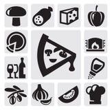 De pictogrammen van de pizza Stock Afbeelding