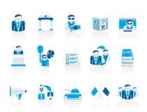 De pictogrammen van de politiek, van de verkiezing en van de politieke partij Stock Foto's