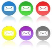 De pictogrammen van de post Gesloten geweeste en geopende envelop met verschillende tekens Royalty-vrije Stock Foto
