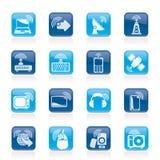 De pictogrammen van de radio en van de technologie Stock Foto