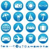 De pictogrammen van de reis & van het toerisme Stock Foto