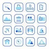 De pictogrammen van de reis en van de Foto - blauwe reeks Stock Afbeeldingen