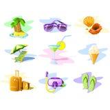 De pictogrammen van de reis en van de Vakantie Stock Foto