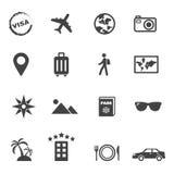 De pictogrammen van de reis en van de vakantie Stock Foto's