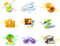 De pictogrammen van de reis en van de Vakantie Stock Fotografie