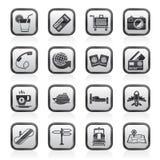 De pictogrammen van de reis en van de Vakantie Stock Afbeeldingen