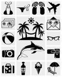 De pictogrammen van de reis en van de Zomer Stock Afbeeldingen