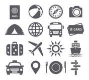 De pictogrammen van de reis en van het toerisme Stock Afbeeldingen