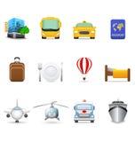 De pictogrammen van de reis en van het vervoer Royalty-vrije Stock Fotografie