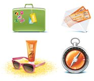 De pictogrammen van de reis en van vakanties. Deel 6 Stock Foto's