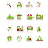 De Pictogrammen van de reis - groen-Rode Reeks Stock Illustratie