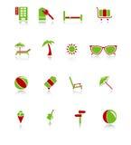 De Pictogrammen van de reis - groen-Rode Reeks Royalty-vrije Stock Foto
