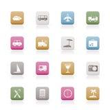 De pictogrammen van de reis, van het vervoer, van het toerisme en van de vakantie Stock Foto's