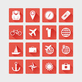 De pictogrammen van de reis Vector vlakke illustratie Royalty-vrije Stock Foto