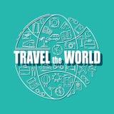 De pictogrammen van de reislijn in bolvorm Reis de wereld - vectorillustratieconcept voor dekkingskaart, brochure of tijdschrift Stock Foto