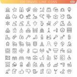 De Pictogrammen van de reislijn voor Web en Mobiel Stock Illustratie