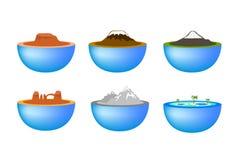 De pictogrammen van de reisoriëntatiepunten van de aard Stock Afbeelding