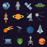 De pictogrammen van de ruimte en van de astronomie royalty-vrije illustratie