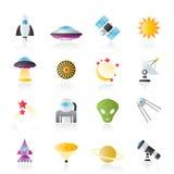 De pictogrammen van de ruimtevaart, van de ruimte en van het heelal Stock Afbeelding