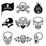 De pictogrammen van de schedel en van de harde rots Stock Fotografie