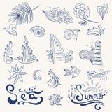 De pictogrammen van de schetsreis Stock Afbeelding