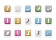 De pictogrammen van de schoen en van de laars royalty-vrije illustratie