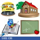 De pictogrammen van de school Stock Afbeeldingen