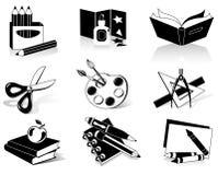 De pictogrammen van de school Stock Foto's