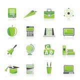 De pictogrammen van de school en van het onderwijs Stock Afbeelding