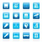 De pictogrammen van de school en van het onderwijs Stock Foto