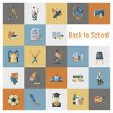 De pictogrammen van de school en van het onderwijs Stock Foto's