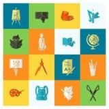 De pictogrammen van de school en van het onderwijs Royalty-vrije Stock Afbeeldingen