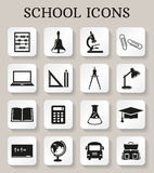 De pictogrammen van de school en van het onderwijs Beeldverhaal polair met harten Royalty-vrije Stock Afbeeldingen