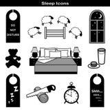 De Pictogrammen van de slaap Stock Afbeeldingen