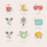 De Pictogrammen van de slapeloosheidslijn Stock Foto