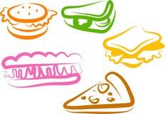 De Pictogrammen van de snack Stock Fotografie