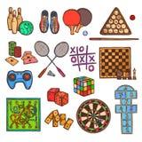 De pictogrammen van de spelschets Stock Foto