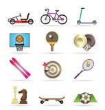 De pictogrammen van de sportuitrusting en objecten Stock Foto