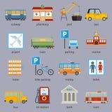 De pictogrammen van de stadsinfrastructuur Stock Foto's