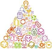 De pictogrammen van de stencil in driehoeksvorm vector illustratie
