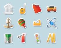 De pictogrammen van de sticker voor de industrie Stock Afbeelding